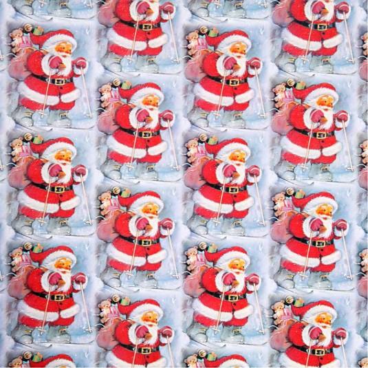 Werbeartikel: Geschenk-papier weihnachts,=Geschenkpapier Weihnachtsmann auf Skier,