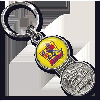Werbeartikel: Metall-Schlüsselanhänger=Metall-Schlüsselanhänger Einkaufswagenchip Cordoba