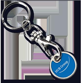 Werbeartikel: Metall-Schlüsselanhänger=Metall-Schlüsselanhänger Einkaufswagenchip Malaga,