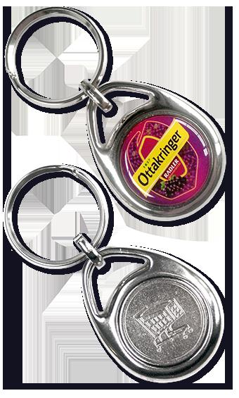 Werbeartikel: Metall-Schlüsselanhänger=Metall-Schlüsselanhänger Einkaufswagen Chip Eleganto,