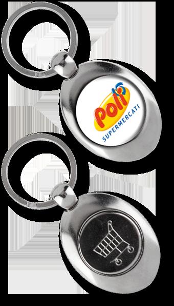 Werbeartikel: Metall-Schlüsselanhänger=Metall-Schlüsselanhänger  Einkaufswagen Chip Big Shopper,
