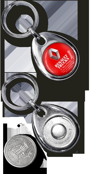 Werbeartikel: Metall-Schlüsselanhänger  Einkaufswagenchip Silver Coiny,