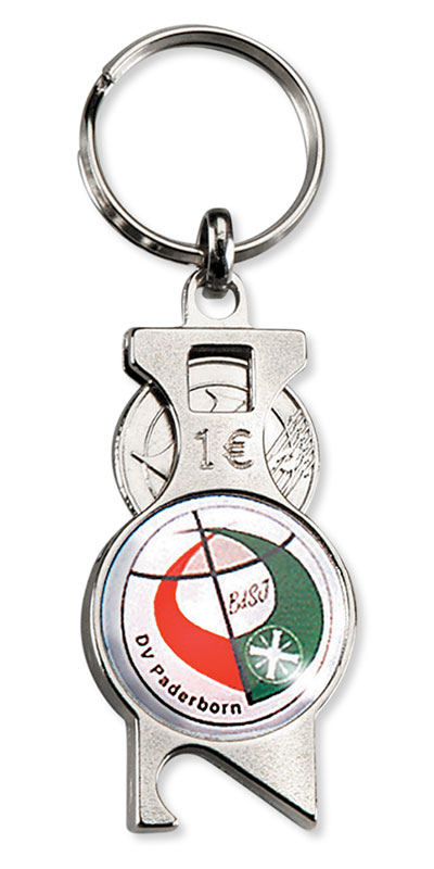Werbeartikel: Einkaufswagen  schlüssel,=Schlüsselanhänger mit chip und Flaschenöffner,