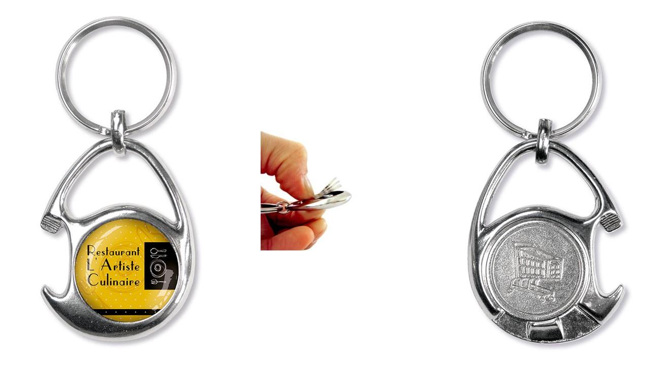Werbeartikel: Einkaufswagen  schlüssel,=Schlüsselanhänger mit einkauf-chip und Flaschenöffner,