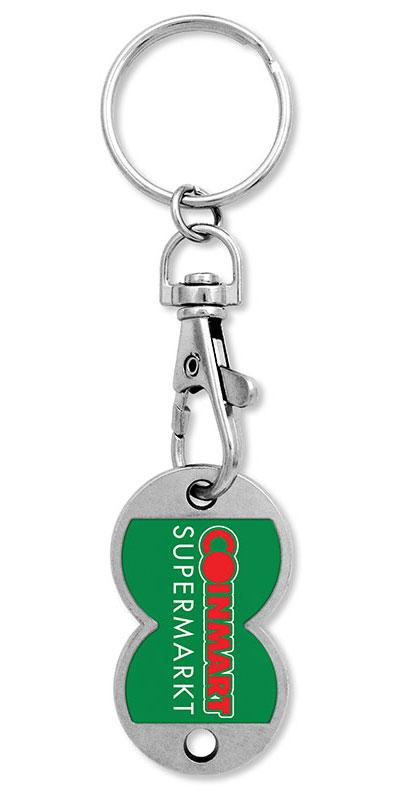 Werbeartikel: Einkaufswagen  schlüssel,=Olivenza metall schlüsselanhänger,