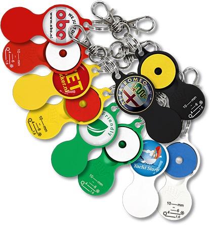Werbeartikel: Einkaufswagen  schlüssel,=Schlüsselanhänger Einkaufswagenchip Profiltiefenmesser