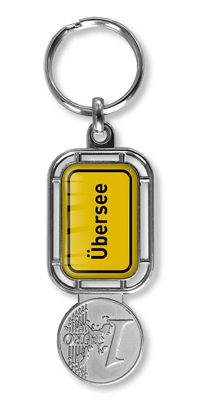 Werbeartikel: Orts Schlüsselanhänger=Schlüsselanhänger mit Winkelwagenlöser