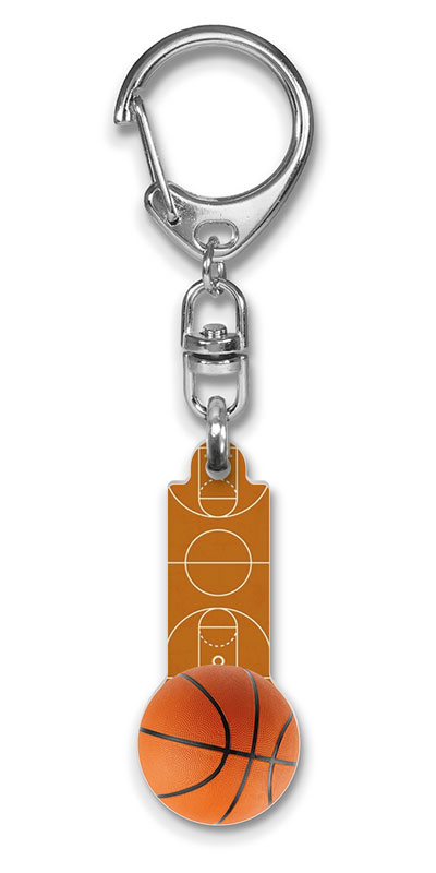 Werbeartikel: Einkaufswagen  schlüssel,=Basketball Schlüsselanhänger