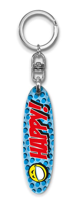 Werbeartikel: Plexi-Schlüsselanhänger=Plexi-Schlüsselanhänger Happy